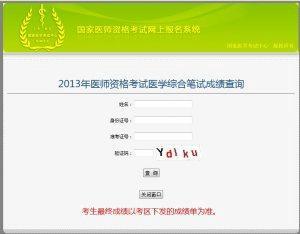 2013年执业医师考试医考中心成绩查询入口